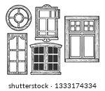 house wooden old windows sketch ...   Shutterstock .eps vector #1333174334