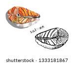 salmon steak isolated on white... | Shutterstock .eps vector #1333181867