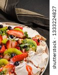 pavlova cake with fresh... | Shutterstock . vector #1333224827