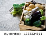 vegetables in a wooden box ...