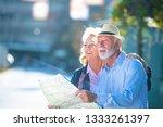 senior couple of tourists... | Shutterstock . vector #1333261397