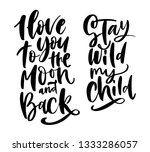 hand drawn lettering set with... | Shutterstock .eps vector #1333286057