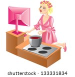 housewife at the computer | Shutterstock .eps vector #133331834