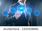 businessman pressing button.... | Shutterstock . vector #1333328681