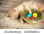 Stock photo little cream cat sleeping near the basket with colored eggs 133336811