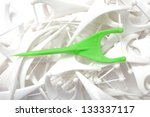 green and white floss toothpick ... | Shutterstock . vector #133337117