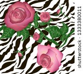 design with zebra skin and pink ... | Shutterstock .eps vector #1333380011