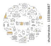 vector line concept for travel... | Shutterstock .eps vector #1333386887