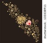 golden ector floral composition ... | Shutterstock .eps vector #133338911