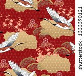 japanese kimono pattern. cherry ... | Shutterstock .eps vector #1333390121