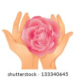 art,bloom,blossom,care,clip art,concept,design element,elegance,flower,gift,giving,hands,holding,illustration,image