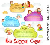 vector illustration of kid playing on cloud for summer camp poster