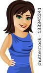 beautiful woman with evening... | Shutterstock .eps vector #133345241