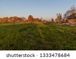 green field and yellowed trees... | Shutterstock . vector #1333478684