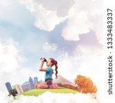 cute kid girl on city floating... | Shutterstock . vector #1333483337