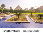 swimming pool and park with...   Shutterstock . vector #1333522031