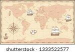 antique world map. vintage... | Shutterstock . vector #1333522577