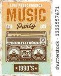 music nineties party vintage... | Shutterstock .eps vector #1333557671