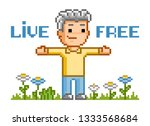 live free. vector pixel art... | Shutterstock .eps vector #1333568684