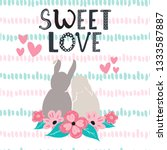 sweet bunny rabbits couple on... | Shutterstock .eps vector #1333587887