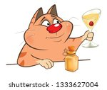 illustration of a cute cat and ... | Shutterstock . vector #1333627004