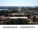 Varkaus, Finland. View of the city center from the roof of a tall building.