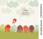 card with colorful easter eggs... | Shutterstock .eps vector #133365641