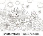 little grey rabbit carrying... | Shutterstock .eps vector #1333736801