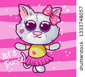 cute kitten  baby shower card...   Shutterstock .eps vector #1333748057
