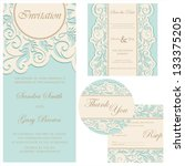 set of wedding cards ... | Shutterstock .eps vector #133375205