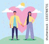 young couple in love at...   Shutterstock .eps vector #1333788731