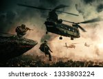 military helicopter and forces... | Shutterstock . vector #1333803224