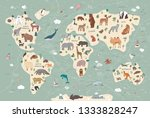 animals on world map... | Shutterstock .eps vector #1333828247
