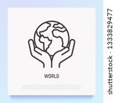 world thin line icon  hands...   Shutterstock .eps vector #1333829477