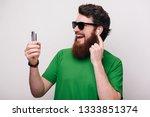 portrait of happy bearded... | Shutterstock . vector #1333851374