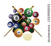 billiard cue and pool balls.... | Shutterstock .eps vector #1333900031