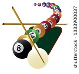 billiard cue and pool balls.... | Shutterstock .eps vector #1333900037