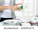 close up hands of woman washing ... | Shutterstock . vector #133391171