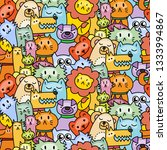 seamless pattern with cute... | Shutterstock . vector #1333994867