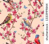 seamless pattern of birds and... | Shutterstock . vector #1333999844