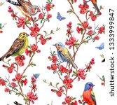 seamless pattern of birds and... | Shutterstock . vector #1333999847