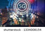 5g network with aerial view of... | Shutterstock . vector #1334008154