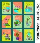 garden tools card set vector... | Shutterstock .eps vector #1334012564