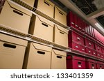 rows of stacked storage boxes... | Shutterstock . vector #133401359