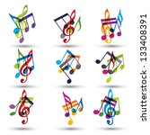 musical notes abstract icons... | Shutterstock .eps vector #133408391