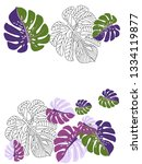 vector tropical pattern with... | Shutterstock .eps vector #1334119877