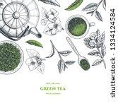 vector frame with green tea. ... | Shutterstock .eps vector #1334124584