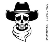 skull in cowboy hat and bandana ... | Shutterstock .eps vector #1334127527