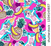 summer seamless pattern with... | Shutterstock .eps vector #1334145857