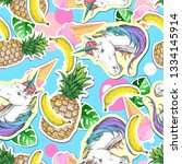 summer seamless pattern with... | Shutterstock .eps vector #1334145914